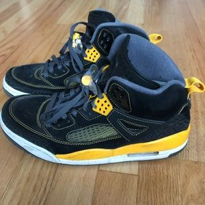 Pair of yellow and black Jordan
